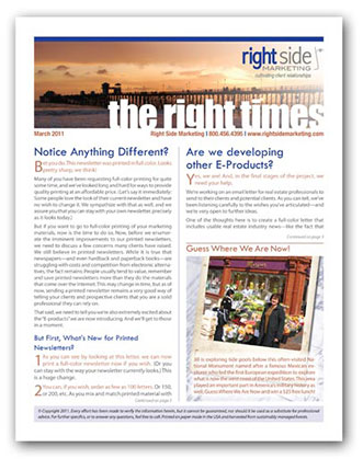 Right Side Marketing Newsletter The Right Times